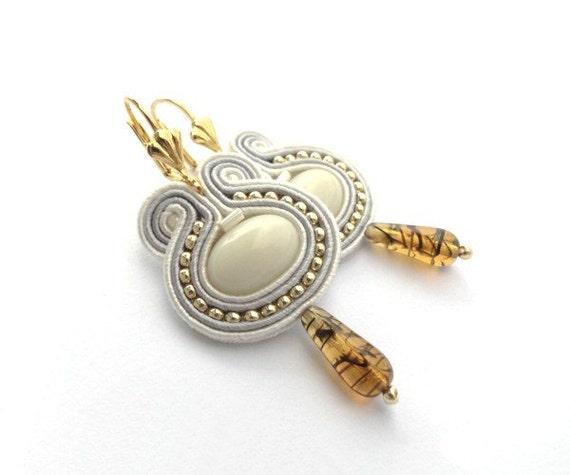 Honey gold & golden harvest bridal earrings, Fall Wedding