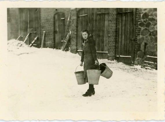 "Vintage Photo ""Winter Work"", Photography, Paper Ephemera, Snapshot, Old Photo, Collectibles - 0009"