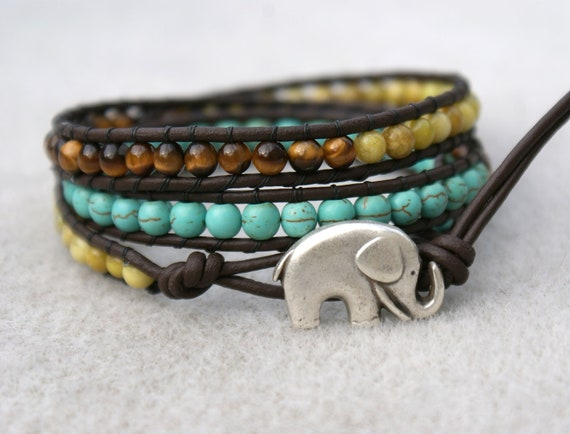 Elephant bohemian beaded leather wrap bracelet, Good Luck wrap, 3x Wrap bracelet, Chan Luu Style, Turquoise, brown tiget eye, jade
