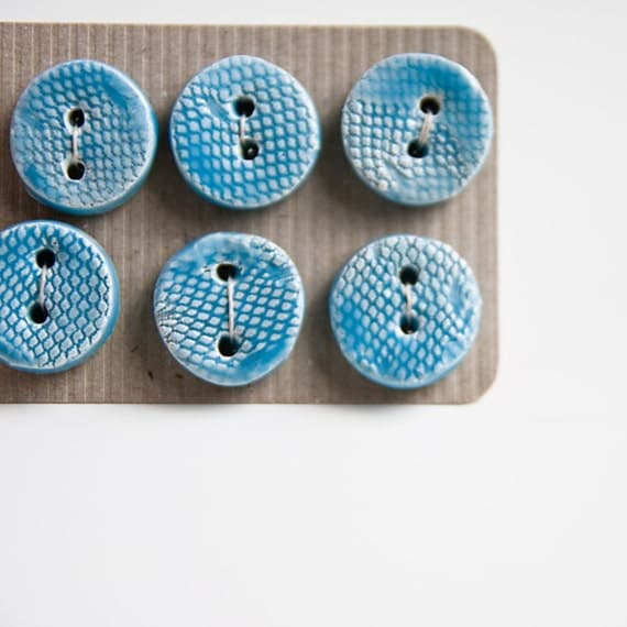 handmade buttons, textured blue, small pottery buttons by karoArt, made in Ireland, set of six, fashion accessories