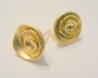 Wholesale Gold Mini Sterling Round Earring Post Findings, setting, connector, pendants 2 pc P57431
