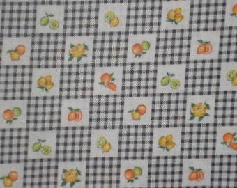 Black and White Check with Fruit Fabric