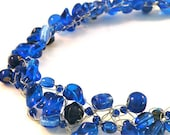 Cobalt Blue Crochet Wire Necklace with Cobalt Blue Beads with Matching Earrings/ Indigo/