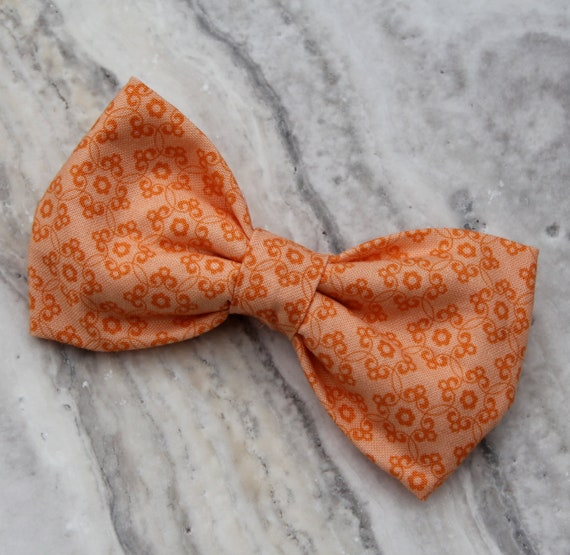 Bow tie in Orange on Orange Scrollwork Flowers  - clip on, pre-tied with strap or self tying