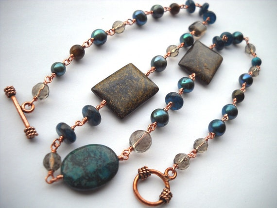 Wire Wrapped Copper Teal and Brown Necklace: Tell Me What It's Like