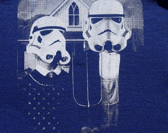 star wars American Gothic parody on womens t shirt- american apparel indigo, available in S,M, L ,XL  worldwide shipping