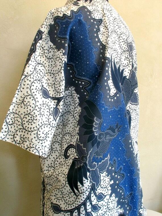 Vintage Indonesian Batik Shirt Handmade Men's X Large Size Cool Summer Blues