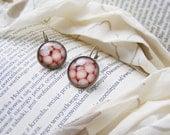 Light pink earrings, leverback pastel earrings, handmade jewelry, round pink powder earrings