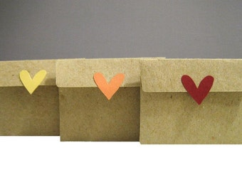 6 Heart Mini Envelopes & Cards Set of 6 - Recycled Kraft Paper