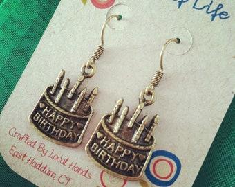 Handmade Happy Birthday Earrings