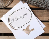 I Love You : Eco friendly Bird Note Card Greetings - Cute Woodland Animal - 'Bird Chirp' card, Animal Art
