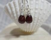 Genuine Garnet  Earrings Briolette Wire Wrapped Earrings Gemstone Earrings Sterling silver earrings Birthstone January
