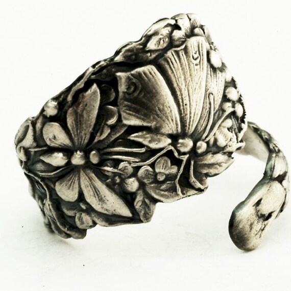 Spoon Ring Art Nouveau Butterfly in Sterling Silver, Handcrafted in Your Size (2683)