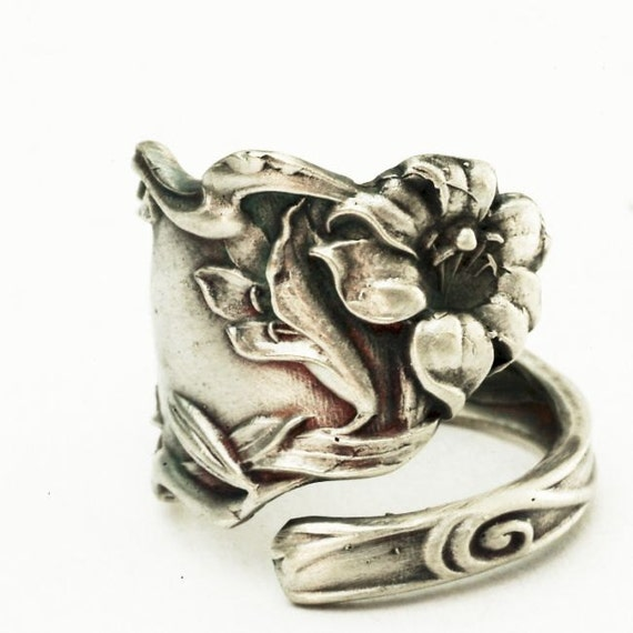 Spoon Ring Art Nouveau Rare Lily Sterling Silver Spoon Ring, Handmade to your size (2768)