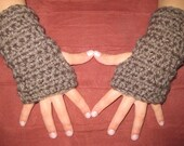 Taupe Brown Children's Fingerless Gloves