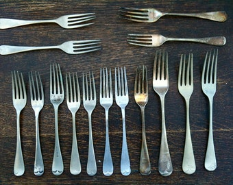 Vintage English Dinner Eating Forks Mixed Set of 15 Cutlery Silverware Flateware Job Lot circa 1910-50's / English Shop