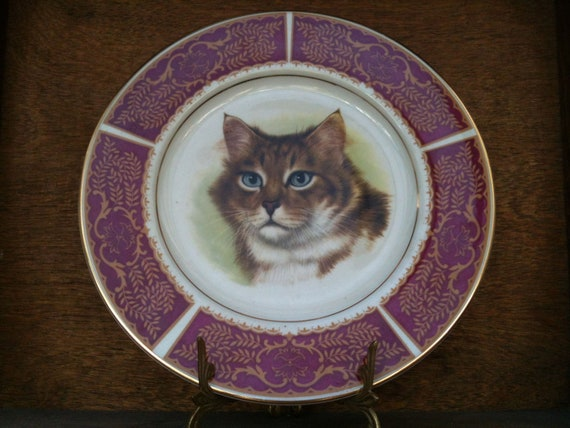 Vintage English cat dinner lunch plate wall hanging circa 1950's / English Shop