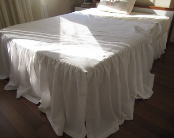 Day bed cover Ruffled white linen with ties -Skirted coverlet,Bedskirts, Day bed Bedding, Dust Ruffles & Daybed Skirts, bedspread pink blue