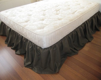 Cal KING or Queen Bed skirt, Dust ruffle solid Dark brown linen - custom color bed skirt - country bedding
