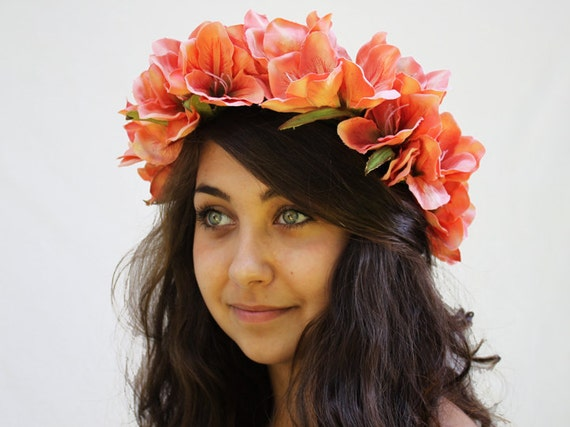 Coral Pink Lily Crown - Vintage Peach Flower Head Wreath. Bridal Flower Crown, Hair Wreath, Tropical Wedding, Bohemian Wedding