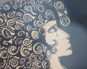 Art Painting Portrait of a Woman Black and White Original Painting from 1968