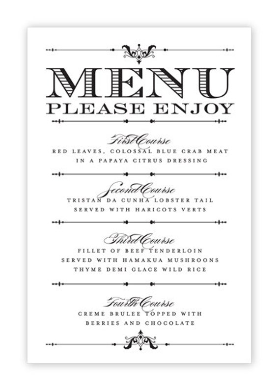 Wedding menu card printable diy by hesawsparks on etsy for Free printable menu templates