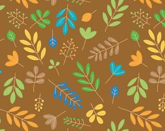 SALE 1 Yard of Zoofari Brown Leaves by Doodlebug Design for Riley Blake