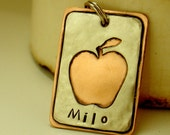 Dog ID tag- apple cut out- mixed metal pet id tag for medium to large dogs- the Milo