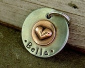 Dog ID Tag- Bella- small puffed heart tag for dogs and cats