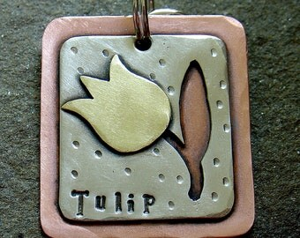 Dog ID tag or key fob-  Tulip personalized mixed metal tag for medim to large dogs