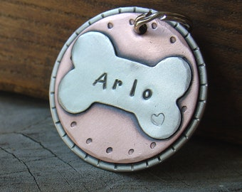 Custom pet ID tag- personalized mixed metal tag for large dog- the Arlo
