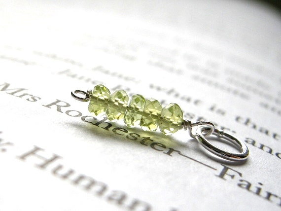 AA-quality Petite Faceted Peridot Dangle / Glow, Jane Eyre, Victorian, Romantic