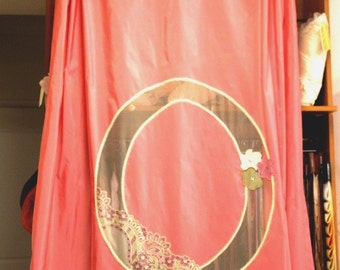 Curtain panel rose pink with transparent applique and lace borders young gilrl's room window treatment romantic chabby chic decoration