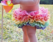 Rainbow Gingham Bloomer Fabric Tutu Bloomer Ruffle Diaper Cover All Around Ruffles