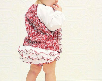 Christmas Bloomer Diaper Cover Panty Pants Red White Ruffle Diaper Cover Snowflakes