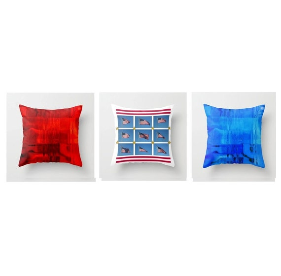 """Americana  Patriotic Pillow Cover Set, 3 Patriotic Pillow Covers, 16x16"""" ,  Bold, Modern, Graphic , 3 Cheers For The Red, White And Blue"""