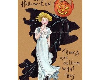Halloween Ghost Card - Pumpkin Head Demon and Woman Greeting Card
