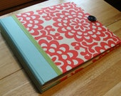 Bright Red Scrapbook/ Wedding Photobooth Guestbook (with room for photos/ cards) in Red Mod Wallflowers, White & Blue