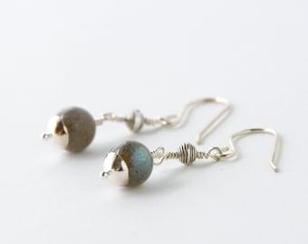 Simple Labradorite and Thai Silver Dangle Earrings, Bohemian Gypsy Jewelry, Boho Shabby Chic Earrings, Minimalist Zen Modern