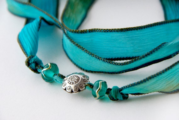 Teal Bohemian Silk Ribbon Wrap Bracelet Necklace with Thai Silver Tropical Sun Charm, Tribal Fusion Choker, Gypsy Bracelet