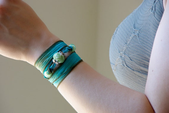 Pale Green and White Glass Lampwork Teal Silk Ribbon Bracelet, Bohemian Yoga Silk Wrap Bracelet, Boho Shabby Chic Gypsy Silk Choker