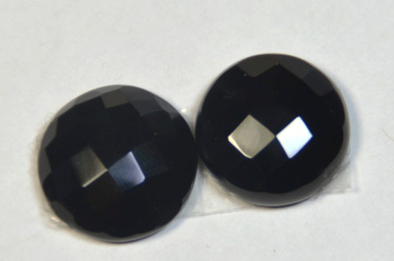 pair of 17mm checker cut black onyx gemstone cabochon