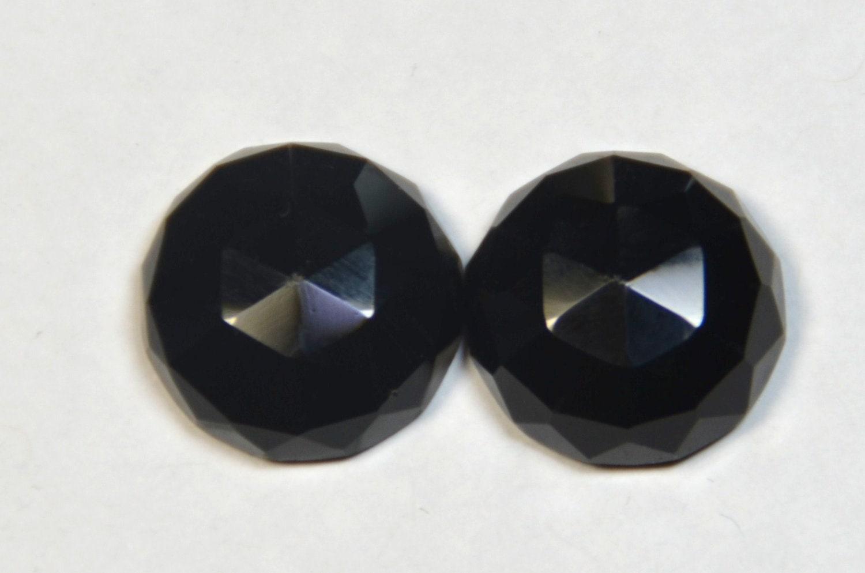 pair of 15mm cut black onyx gemstone cabochon