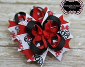 Red and Black Minnie Mouse Mini Stacked Boutique Girls Hair Bows - Set of Two