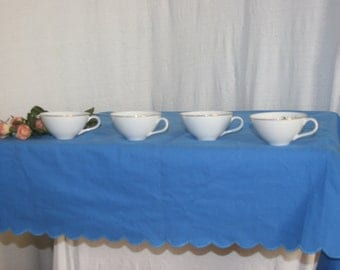 Tea Party Time Elegant 44 x 62 Country Blue Rectangular Table Cloth 100% Cotton Scalloped Edging COTTAGE CHIC Victorian Vintage