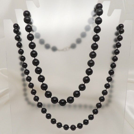 Two Vintage Black Beaded Necklaces