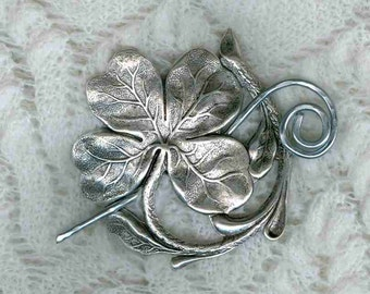 Silver Shamrock Shawl Pin,  Oxidized Silver Shamrock Shawl Pin ...Scarf Pin
