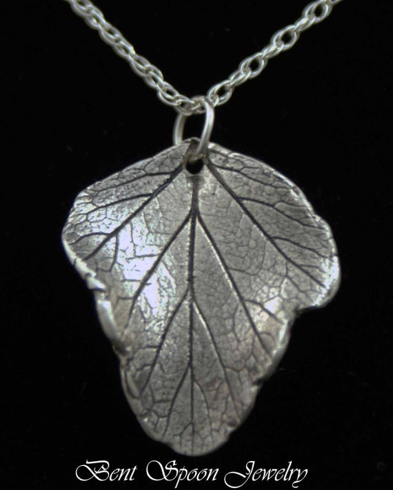 Sterling Silver Real Leaf Pendant, Necklace, One Of A Kind, BentSpoonJewelry