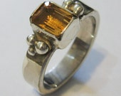 Sterling Silver Ring with Rectangle Faceted Citrine Stone