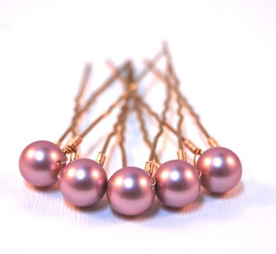Bridal Hair Pins, Powder Rose, Swarovski Pearl, Wedding, Accessory, Wire Wrapped, Hair Fashion, LoveandCherish